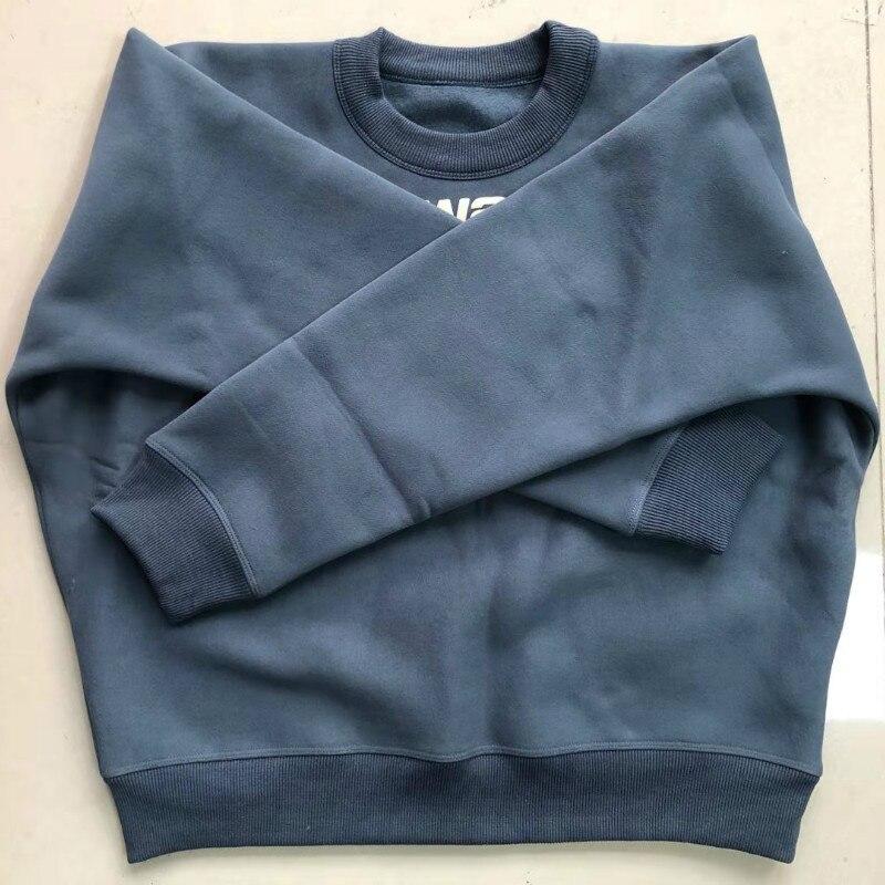 Women Hoodie   Letter Foam Printing Loose White Round Neck Long Sleeve Plus Velvet Sweatshirt
