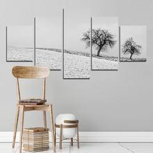 Пейзаж живопись 5 шт плакат с белым снегом и деревом декоративные