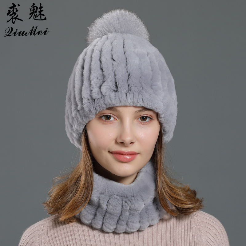 Woman Knitted Scarf And Hat Set Natural Fox Pompom Genuine Rex Rabbit Fur Ring Scarves Beanie Ladies Winter Fur Sets Female