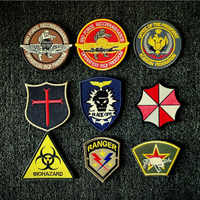 Cloth Patch Embroidered Badge Armband Commando Biohazard Hook Loop 3D Stickers personality Stick on Backpack Clothing