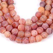 Natural Matte Frost Cracked Orange Red Stone Round Loose Beads For Jewelry Making 4-12mm Spacer Fit Diy Bracelet Necklace