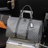 Hohe Qualität Pu Leder Reisetasche für Männer Handtasche Große Kapazität Business Reise Tote Gepäck Duffle Tasche Schwarz Plaid Bolso hombre