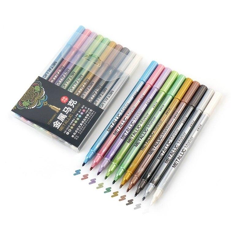 10 шт./лот металлическая Микронная ручка, детальная маркировка, цветной металлический маркер для альбома, черная бумага, рисование, школьные ...