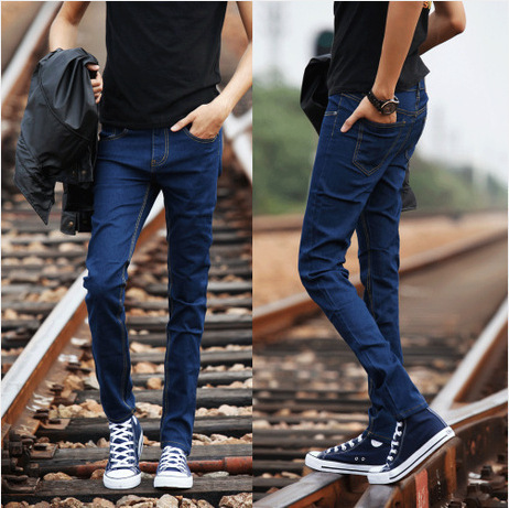 2016 New Style Slim Fit Jeans Korean-style Medium Waist Elasticity Small Feet Long Pants Men's Trend Special Offer