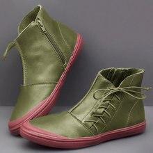 Ankle Boots Women PU Leather Women's Winter Cross Strap Vintage Plush Punk Warm Short Boots Flat Lady Shoes Woman Botas Mujer цены онлайн