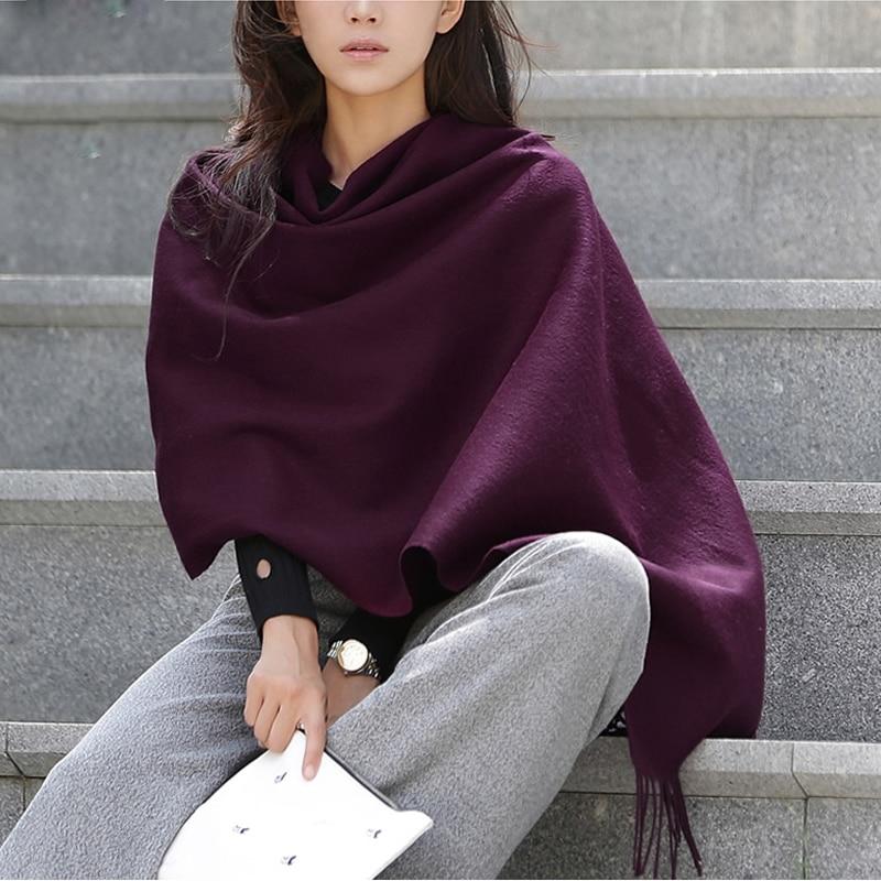 100% Wool Scarf Women 300g Thickening Cashmere Shawl Fashion Winter Female Pashmina Scarves Oversized Keep Warm