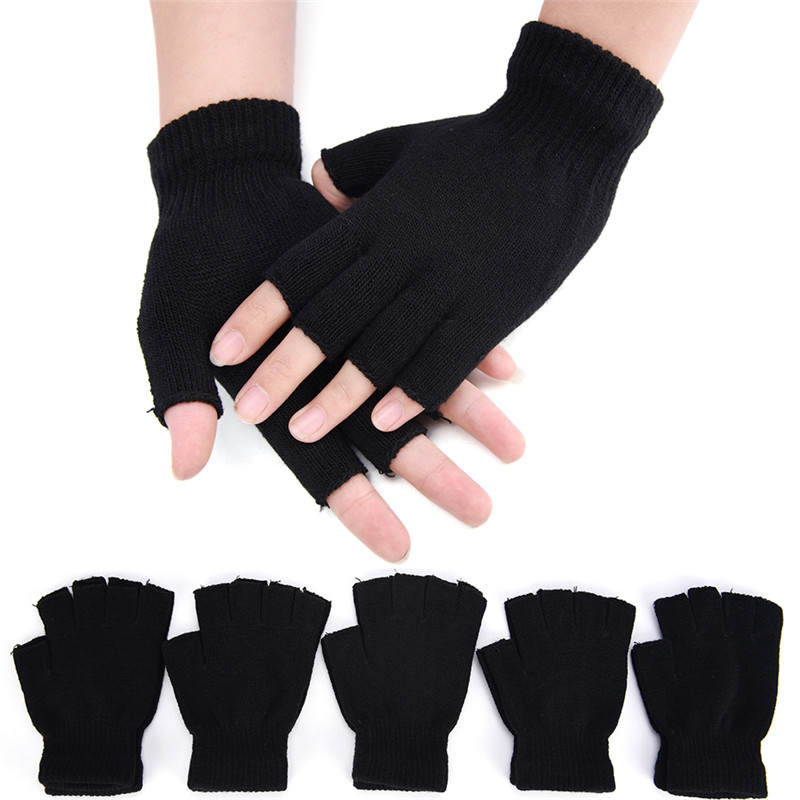 Fingerless-Gloves Wool Half-Finger Winter Warm Black Women Wrist Knit 1pair Cotton