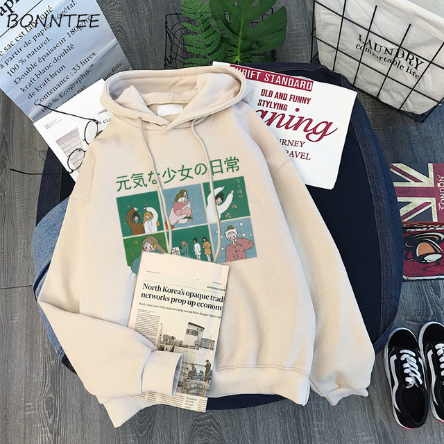 Hoodies Frauen Mit Kapuze Dicker Samt Winter Warme Studenten Pullover Langarm Sweatshirts Harajuku Frauen Streetwear Oversize