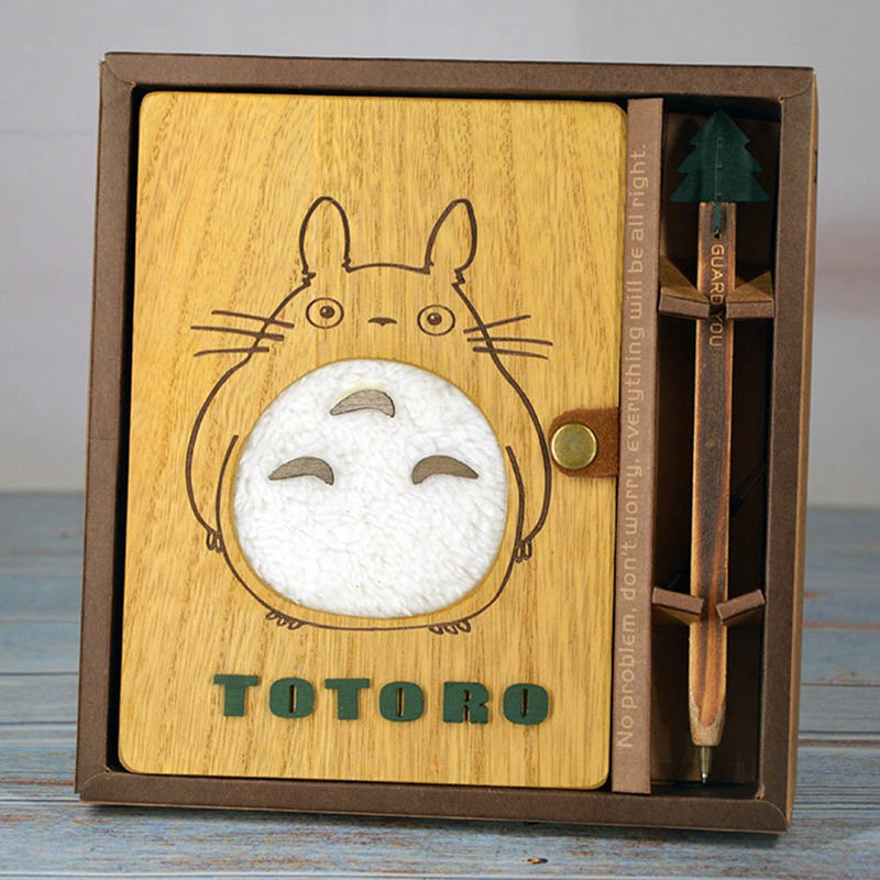 My Neighbor Totoro Cartoon Anime Animals Action Figure Printed Creative Wood Notebook Journals Books Toy Set With Pen