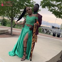Green Satin Prom Dresses Two Pieces Sweetheart Off the Shoulder Lace Appliques Top 2 in 1 Black Girls Graduation Gowns W046