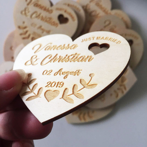 Image 4 - Personalized Wedding Laser Heart Save the Date Magnets,Custom wood rustic save the date,party favors gifts