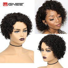 Wignee Short Curly Wigs Pixie Cut Wig Colored Bob Curly Human Hair Brazilian Hair For Black Women Side Part Bob Hairstyle