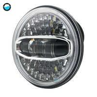 7 Inch 108W CHẤM SAE E9 Xe Máy Đèn Pha LED Xanh Dương Trắng góc mắt Đèn Pha LED 7inch nhà ở xô sần viền.