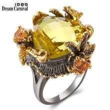 DreamCarnival 1989 แนะนำร้อนขายแหวนผู้หญิงของแท้ Radian Cut Golden Zirconia แหวนเครื่องประดับ WA11666