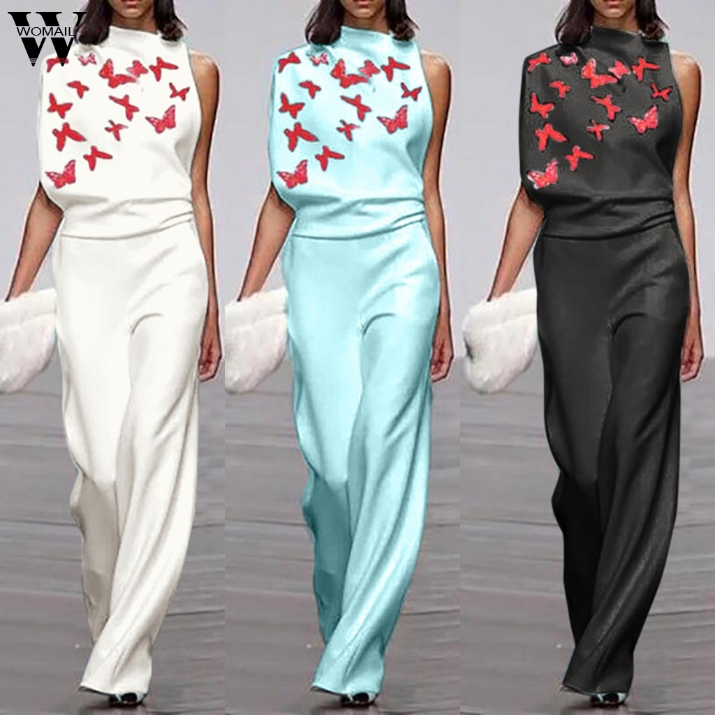 Womail Jumpsuit Women Elegant Print One Shoulder Long Playsuit Ladies Romper Loose Overalls Fashion Wide Leg Playsuit Workwear