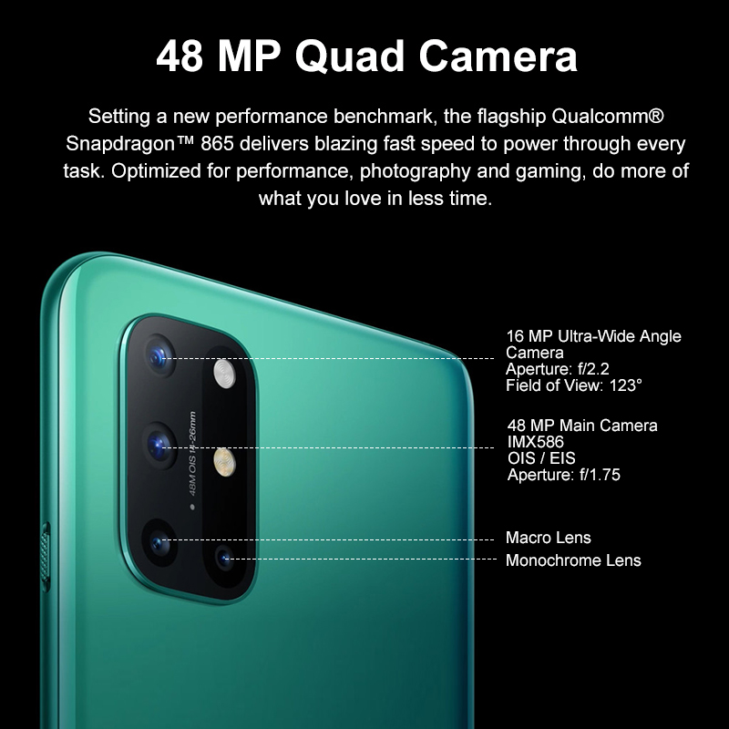 OnePlus 8T 8 T Global Version Smartphone Snapdragon 865 5G 6.55'' 120Hz AMOLED Display 48MP Quad Rear Camera 4500mAh