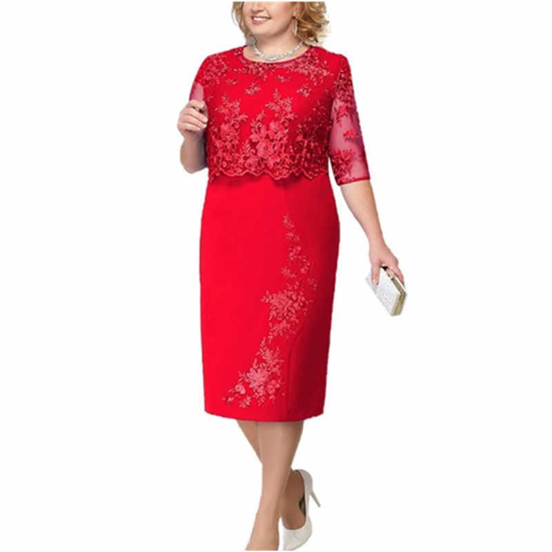 אלגנטי תחרה בתוספת גודל שמלת ערב 2019 סקופ צוואר חצי שרוול חתונת אורח המפלגה שמלות קצר אמא של הכלה שמלות