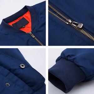 Image 5 - pilot Air men bomber jacket Mens Military Bomber Jackets Men Casual Solid Zipper Pilot Jacket Green New Slim Fit Male Coats 6542