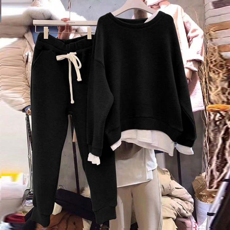 Split Joint Loose Sweater Tracksuit Women Fashion Two-piece Style Outfit Sweatshirt Pants Sets Soild Color Female Suits Set