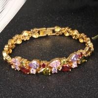 CAW001 Luxury Blue Crystal Bracelet For Wedding Silver Bracelet Rhinestone Charm Women Bangles Jewelry