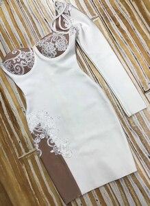 Image 5 - Vestido de fiesta de una manga de cristal hecho a mano, diseñador de moda, elegante