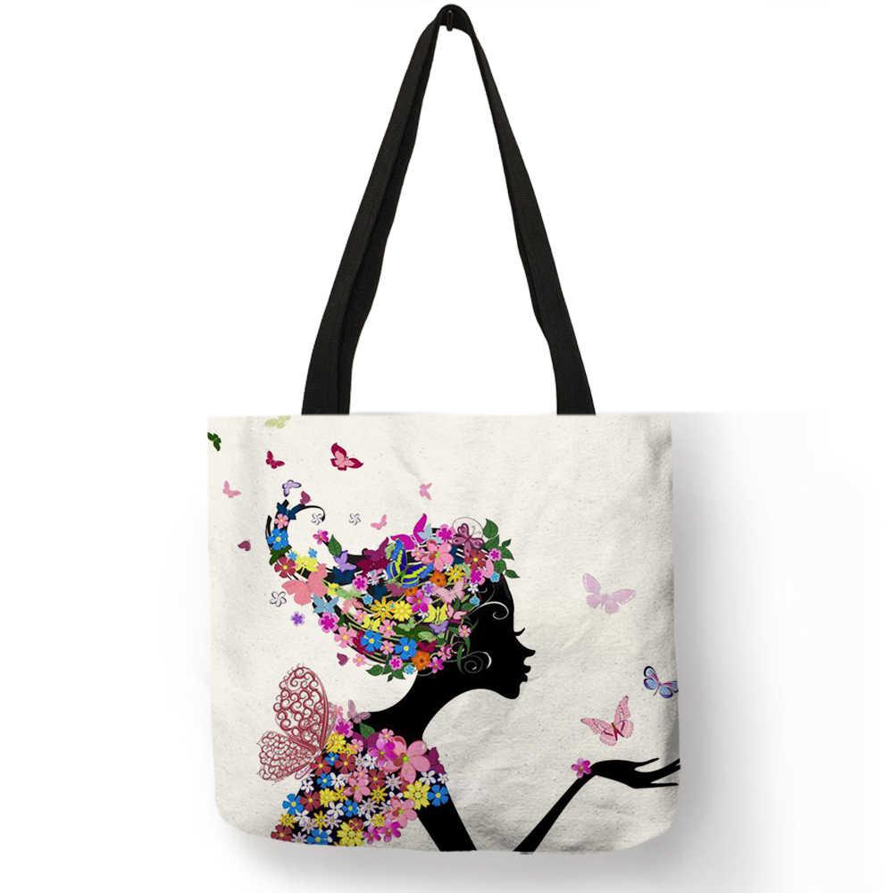 Многоразовые сумки с принтом для девушек, для путешествий, модные женские сумки с принтом на заказ