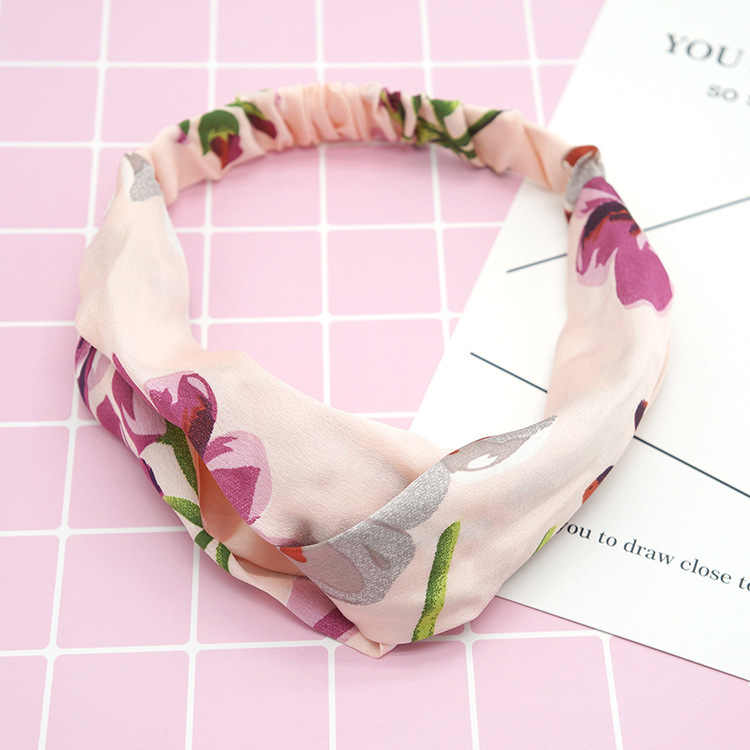 Fashion Girls Summer Floral Hair Bands Printed Headbands Scrunchies Vintage Cross Bandage HairBands For Women Hair Accessories