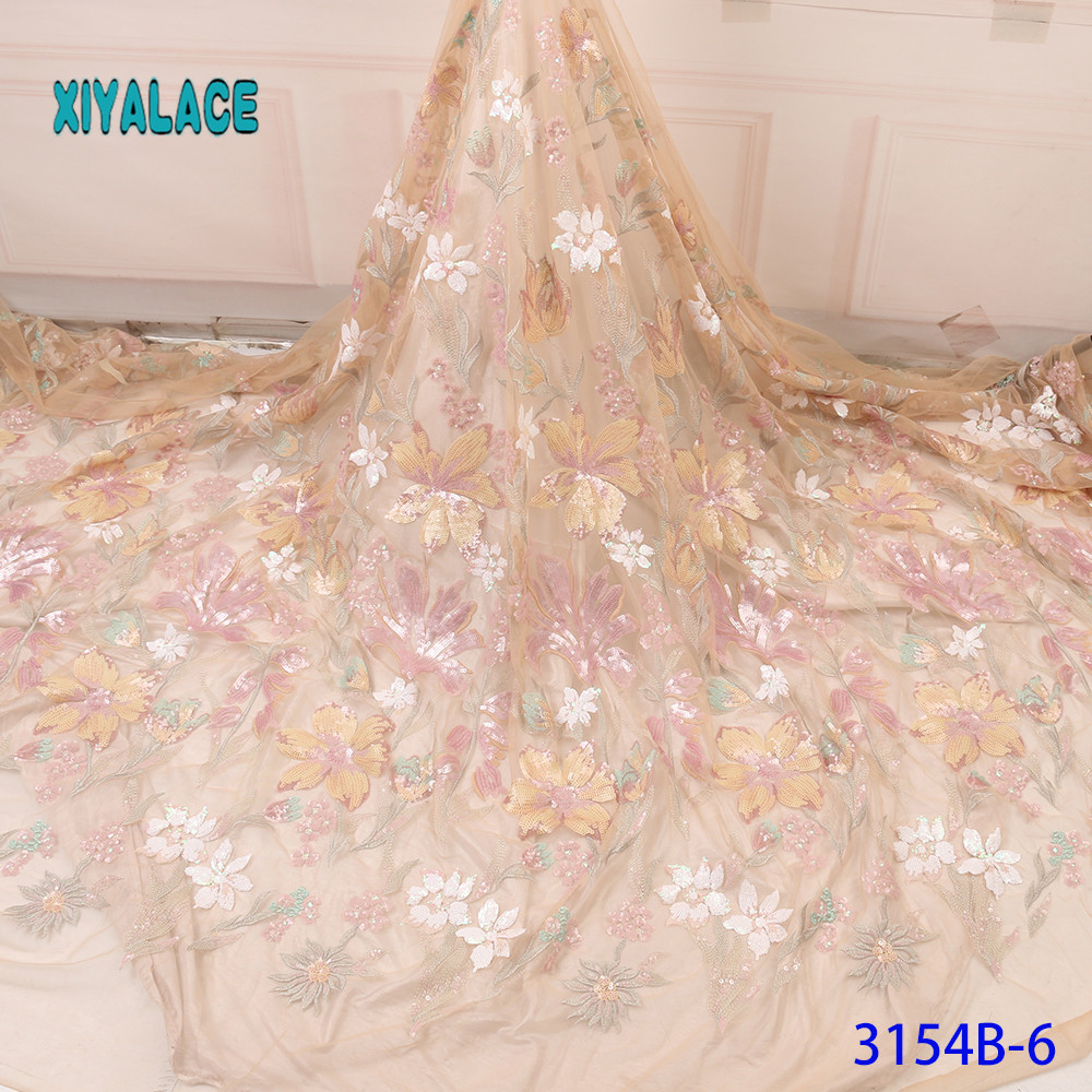 French Lace Fabric  3D Lace Flowers African Lace Fabric 2019 High Quality Lace Embroidered Fabric For Nigerian Wedding YA3154B-6
