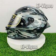 La cara de la motocicleta del casco de la Pista GP R 70 Aniversario camuflaje casco en carreras de Motocross moto casco
