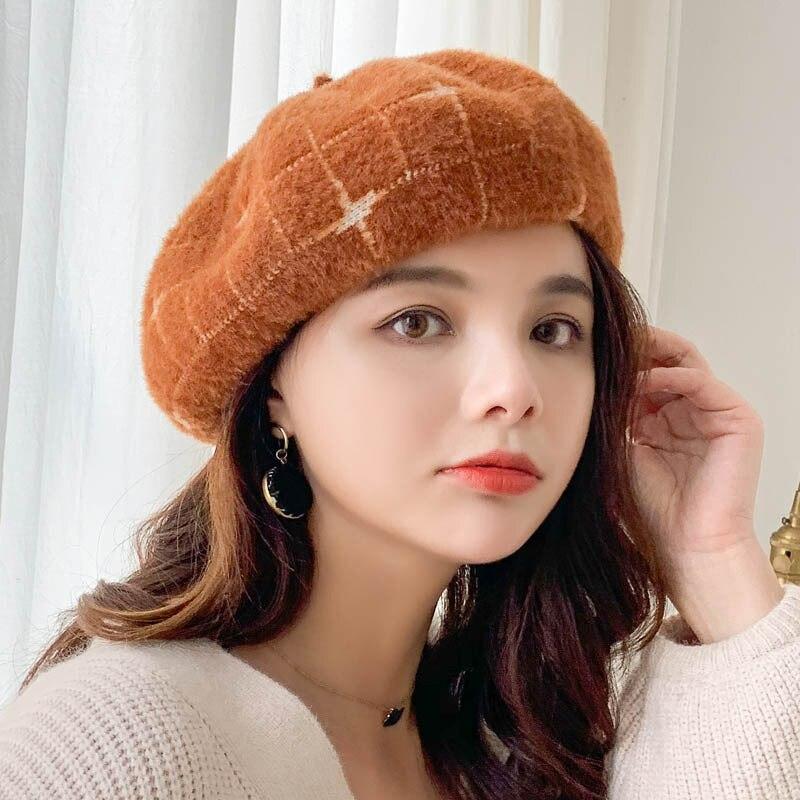 Winter Wool Beret Hat Women Fashion british style Painter hat Vintage British Solid Cap