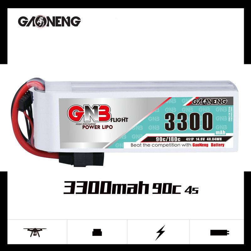 Gaoneng GNB <font><b>3300mAh</b></font> <font><b>4S</b></font> 90C 14.8V XT60 XT90 T Plug <font><b>3300mAh</b></font> <font><b>Lipo</b></font> Battery For RC FPV Racing Drone Airplane RC Car Helicopter image