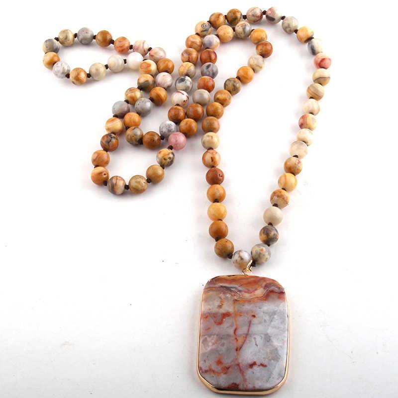 RH Fashion Perhiasan Manik-manik Batu Alam Panjang Diikat Semi Precious Persegi Panjang Batu Liontin Kalung