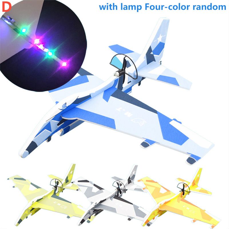 Kid DIY Aircraft Assembled Model Electric Glider EPP Foam Hand Throwing Plane Flight Simulation Fighter with LED Light Game Toys