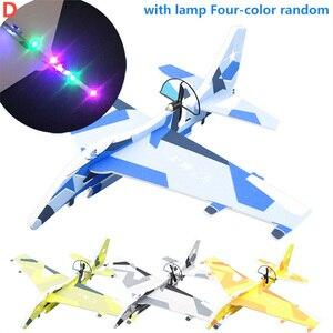 Crianças diy aeronaves montado modelo elétrico planador epp espuma mão jogando avião vôo simulação lutador com led luz jogo brinquedos
