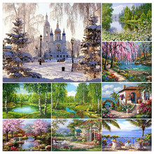 2021 New DIY 5D Diamond Painting Woods Landscape Full Round Drill Resin Diamond Embroidery Picture Rhinestone Home Decor Gift