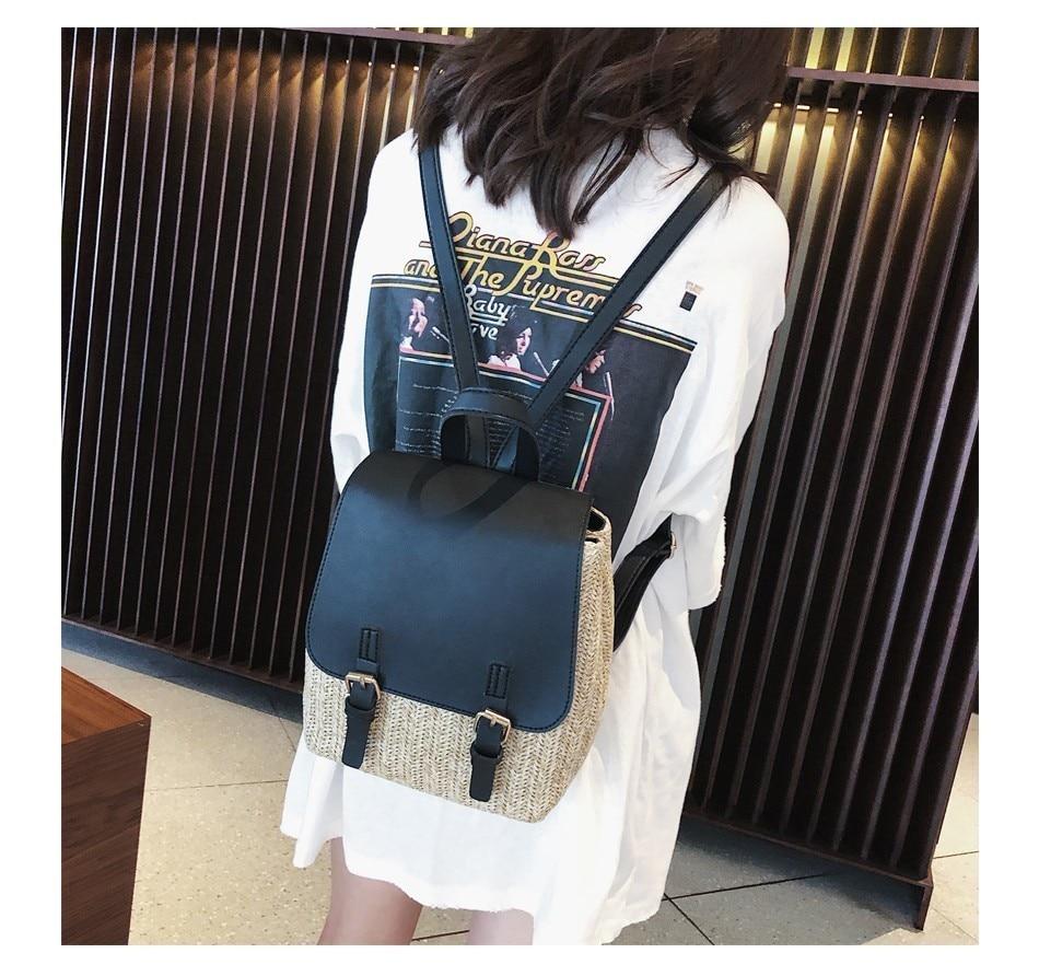 Hbb47ec7d7143487aae6467b1187dca24i Herald Fashion Straw Woven Backpack Women Back Pack Autumn Teenage Girl Quality Backpacks Travel Bags Kawaii Rucksack Drop Ship
