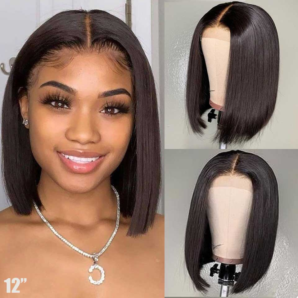Short Bob Wig  Transparent Hd Lace Frontal Wig 150% 13x6 Lace Front Human Hair Wigs Remy Brazilian Hair Straight Lace Front Wig