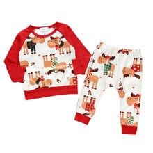 Милая Рождественская Пижама для маленьких мальчиков и девочек, Рождественская футболка с длинными рукавами с изображением лося+ штаны, комплект одежды для детей