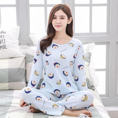 Pajamas Women's Spring And Autumn Large Size Long Sleeve Pajamas WOMEN'S Suit Korean-style Casual Pajamas Women's Summer Pajamas