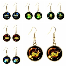 2019 / Popular Gold Saint Seiya 12 Constellation Pendant Earrings Gold Earrings Ladies Jewelry Silver Earrings Childrens Gift.