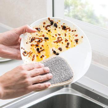 Dwustronna kuchenna gąbka do czyszczenia kuchenna gąbka do czyszczenia płuczka z myjką gąbki do zmywania naczyń akcesoria łazienkowe tanie i dobre opinie CN (pochodzenie) cleaning cloth nylon + sponge KİTCHEN 16 5*9 5