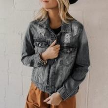 LOOZYKIT Women Basic Coat Denim Jacket 2019 Autumn Female Long Sleeve Jean Fit Casual Style