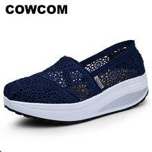 COWCOM Dropผู้หญิงฤดูใบไม้ผลิฤดูร้อนผู้หญิงรองเท้าBreathableลูกไม้โยกรองเท้าผู้หญิงตื้นรองเท้าCYL 2015