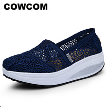 COWCOM Drop Womens Shoes Spring Summer Womens Cool  Shoes Breathable Lace Rocking Shoes Womens Shallow Casual Shoes CYL 2015