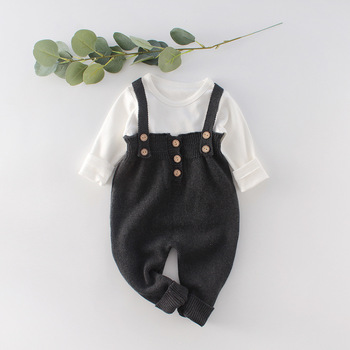 Owligbaby  2020 New Girls Boys Knitted Overalls Spring Fashion Kids Long Pants 6-24 Month  Wholesale