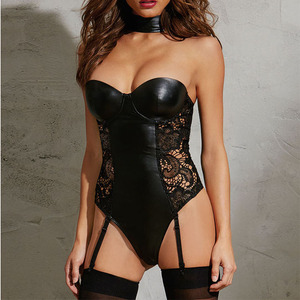 Image 5 - Ohyeahlover Faux Leather Sexy Leotard Backless 5XL Hollow Out Plus Size Teddies Women Patchwork Lace Lingerie Bodysuit RL80384
