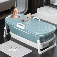 Folding tub massages adult tub 1.38m Large Bathtub Adult Children's Folding Tub Barrel Steaming Dual use Baby Tub Home Spa