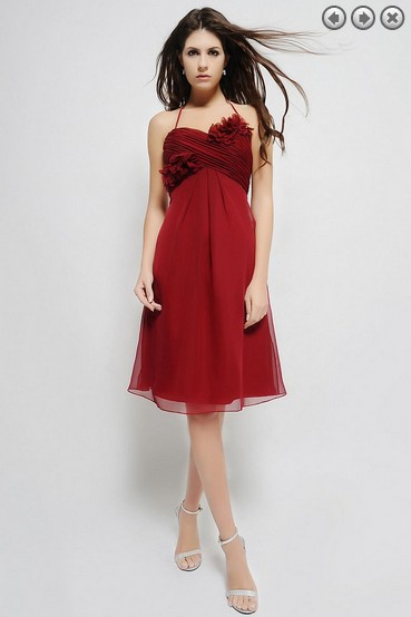 Free Shipping 2016 Dinner Dress Vestidos De Fiesta Bridal Formal Gown Fashion Red  Prom Gowns Short Chiffon Bridesmaid Dresses