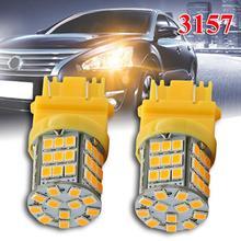 цена на 1pair Car parking Signal Light 3157 LED Amber Yellow Turn Signal DRL 57SMD 2835 Light Bulbs 40W/Bulb 12V Car Signal Light