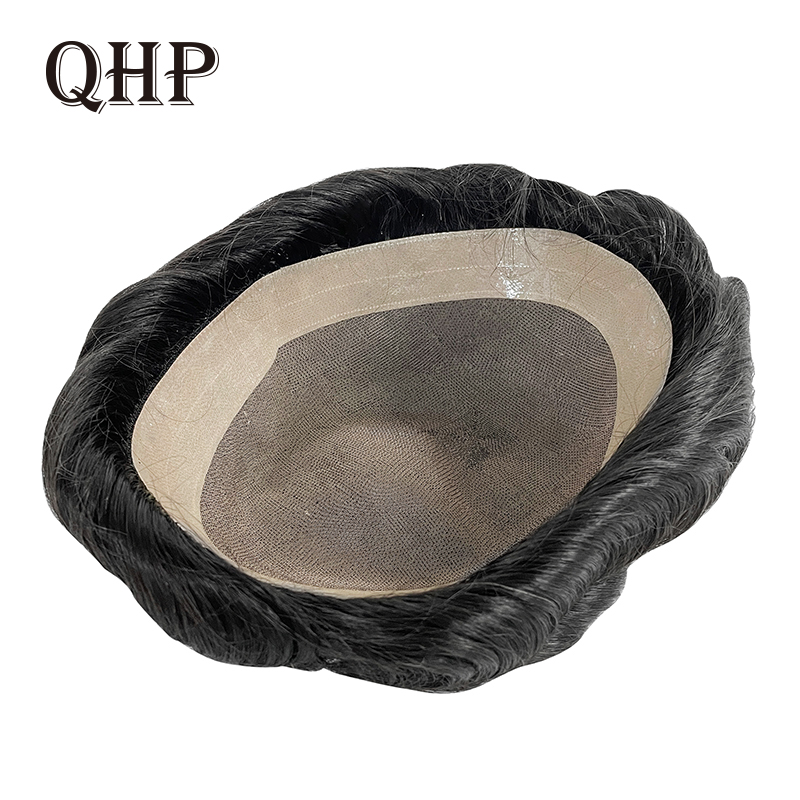 QHP MONO+NPU Men Toupee Remy Indian Hair Replacement System 8x10 inches Handmade Human Durable Hairpieces Wig For Men